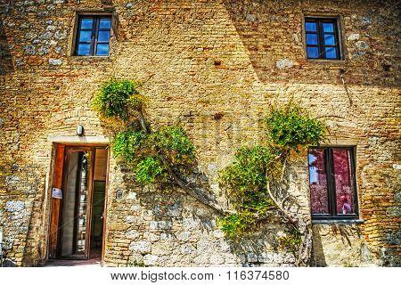 San Gimignano Brick Walls In Hdr Tone