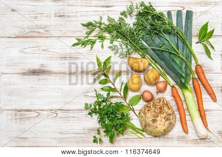 Vegetables Mix For Preparation Of  Soup. Healthy Food