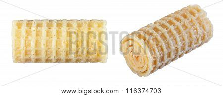 Wafer Rolls Isolate On A White Background In Various Angles.