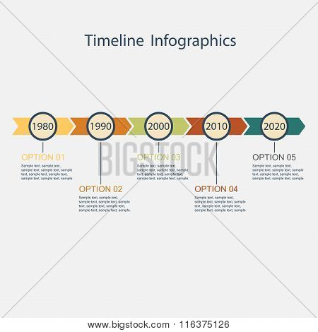 Timeline Infographic template with text. Vector illustration.