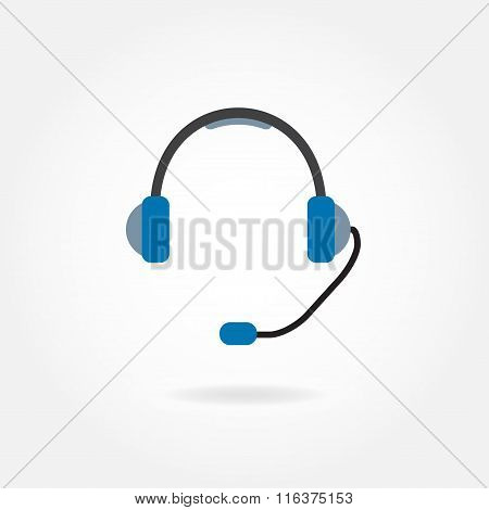 Support Icon: headphones with microphone. Vector illustration.