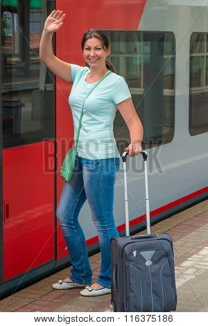 Girl Gets On The Train And Saying Goodbye Hand