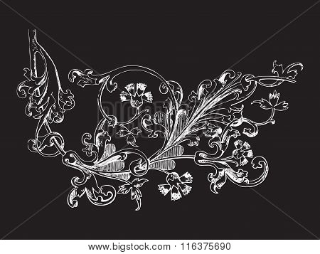 Hand Drawn Illustration Of Twig With Flowers And Leaves Baroque Vector