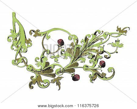Hand Drawn Illustration Of Strawberry Bushes Vector. Branch With Buds And Berries