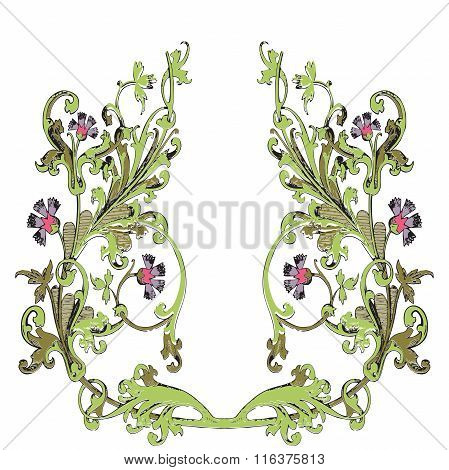 Hand Drawn Illustration Of Twig With Flowers And Leaves Baroque Vector. Cornflowers
