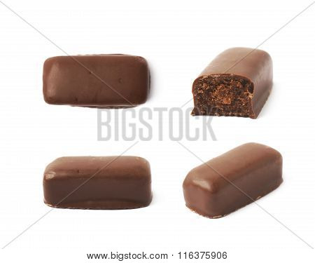 Chocolate coated candy bar isolated