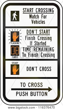 United States Mutcd Road Sign - Crosswalk Instructions