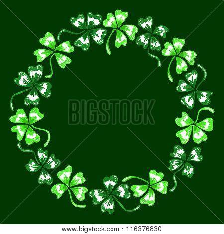 Doodle Green Clover Shamrock Circle Wreath Vector Line Art Isolated