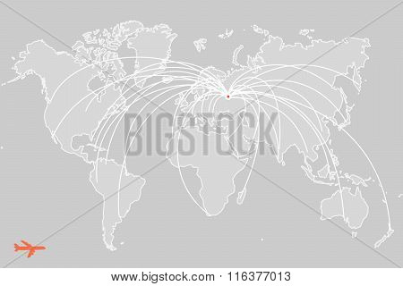 vector worldmap with flights routes