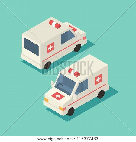 Vector isometric emergency car icon.