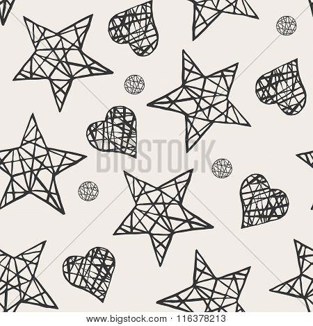 Seamless stars and hearts pattern.