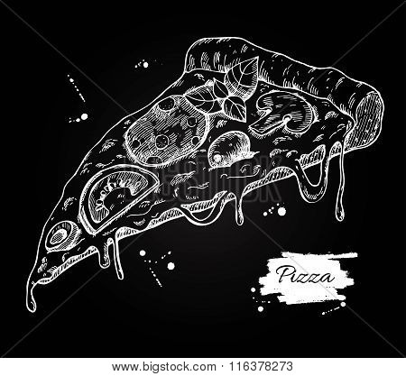 Vector Pizza Slice Drawing. Hand Drawn Pizza Illustration.