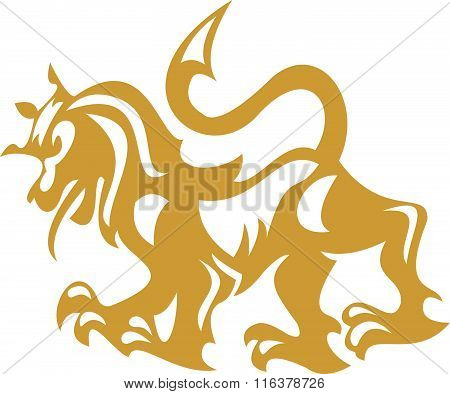 stocks logo gold lion king