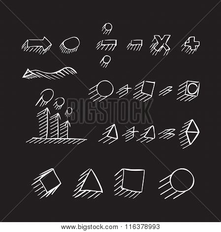 Thin Hand Drawn Arrows, Geometric Shapes With Shadow, Mathematical Signs Painted White Pen On Black
