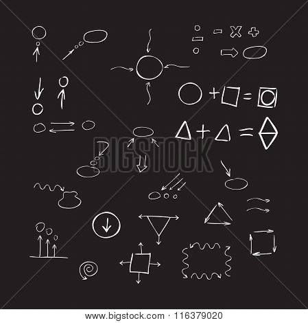 Thin Hand Drawn Arrows, Talk Bubble, Geometric Shapes, Mathematical Signs Painted White Pen