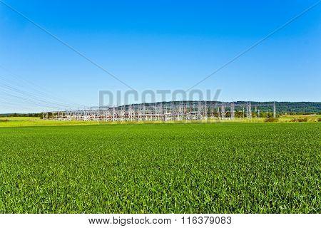 Electric Transformer Station In Beautiful Landscape