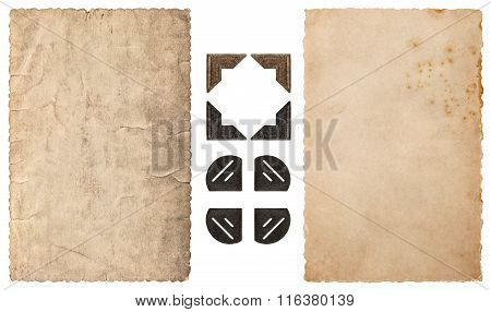 Frame for photos and pictures. Used paper and photo corner isolated on white background. Vintage cardboard