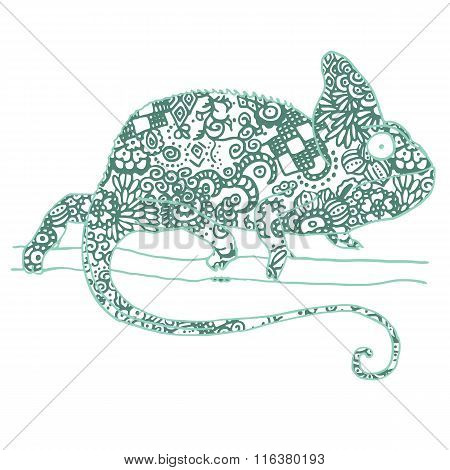 Vector illustraton of chamaleon with hand drawn pattern