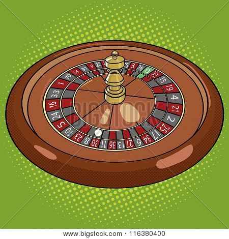 Roulette in casino pop art style vector
