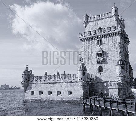 Belem Tower On Tagus River, Belem, Lisbon, Portugal.