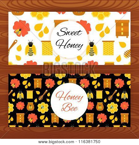 Honey Bee Web Banners On Wooden Texture