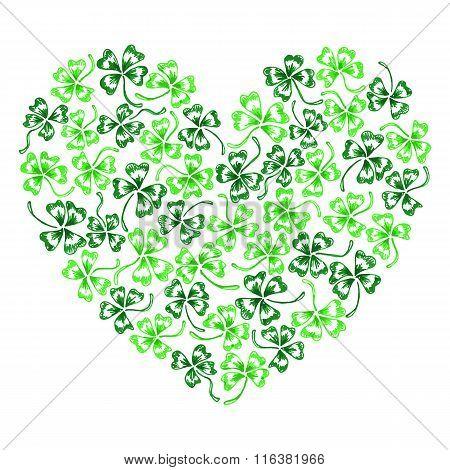 Doodle Green Clover Shamrock Heart Vector Line Art Isolated