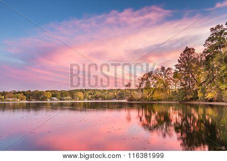 Dramatic Autumn Sunset At Hamilton Lake In Arkansas