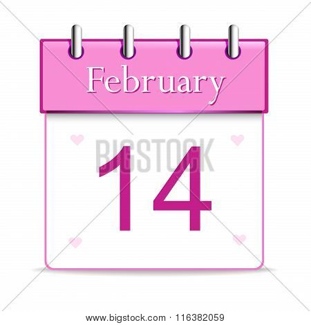 Shiny calendar page showing 14 February