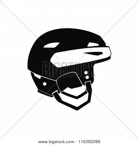 Hockey helmet black simple icon
