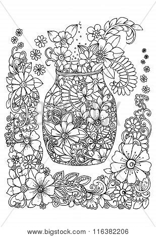 Hand drawing doodle for coloring book