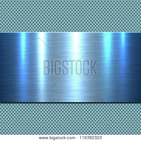 Background, polished blue metal texture, vector.