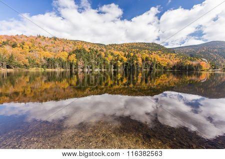 Colorful Autumn Landscape And Reflection In White Mountain National Forest, New  Hampshire