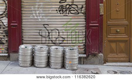 Four Beer Kegs Outside Madrid