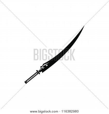 Japanese sword black simple icon