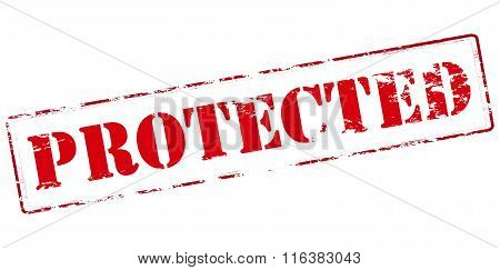 Rubber stamp with word protected inside vector illustration