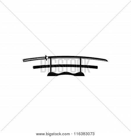 Katana on a wooden stand icon