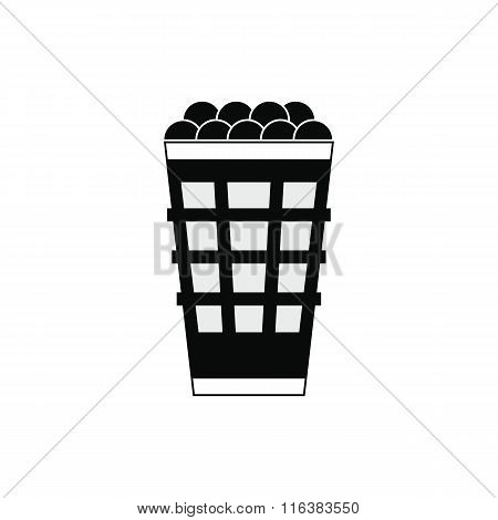 Basket with golf balls icon
