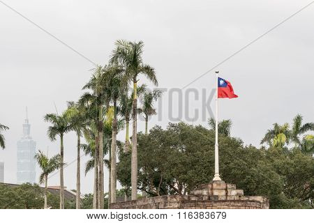Taiwan Flag Blowing In Wind