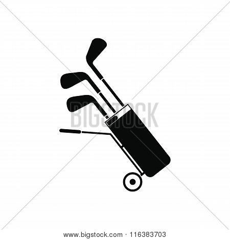 A wheeled golf bag full of golf clubs icon
