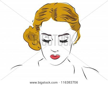 Blond Woman Looking Down