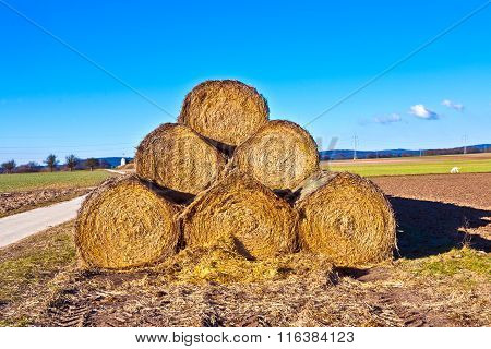 Bale Of Straw In Foil On Field With Blue Sky