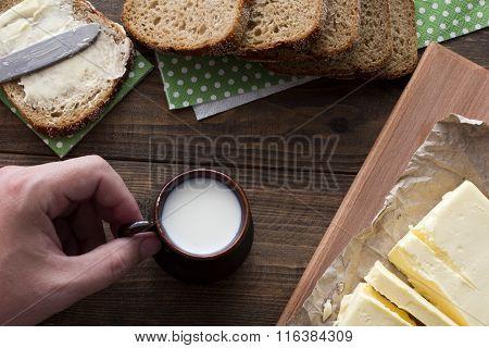 Drink Milk With A Sandwich