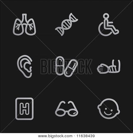 Medicine Web Icons Set 2, Grey Mobile Style