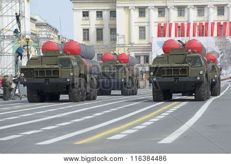 A convoy of rocket launchers ZRS S-300PM on rehearsal of parade in honor of Victory Day on Palace sq