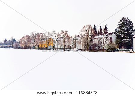 Settlement In Winter Landscape