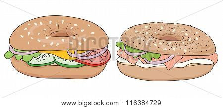 Set of 2 fresh bagel sandwiches. Salmon and cream cheese, vegetables and cheese.  Vector illustrati