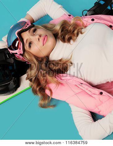 Beautiful Skier Girl With Blond Hair Wears  Ski Equipment