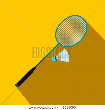 Badminton racket and shuttlecock flat icon