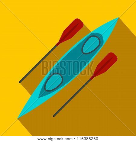 Kayak and rowing oar flat icon