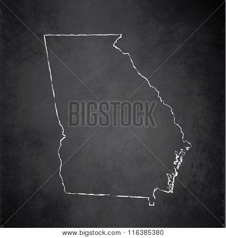 Georgia map blackboard chalkboard raster